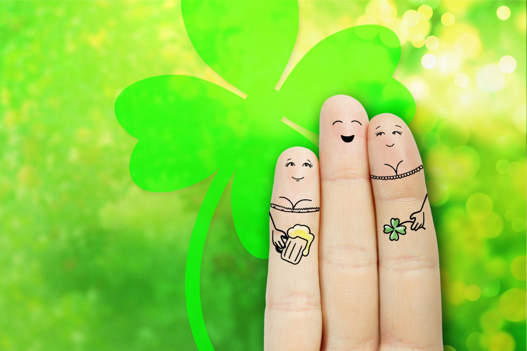 Saint Patrick's Day creative and funny male friendship series. Painted fingers concept